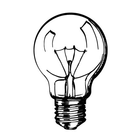 Sketch of hand drawn lamp or light bulb, design element, Vector illustration Illustration