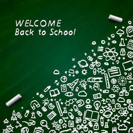 Di nuovo al cartello della bandiera della scuola sullo sfondo verde. Illustrazione vettoriale Vettoriali