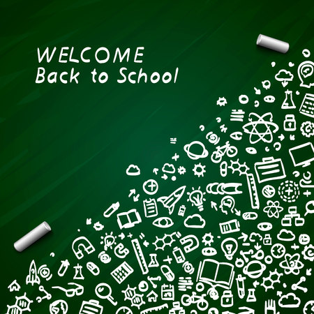 Back to school banner signboard on the green background. Vector illustration