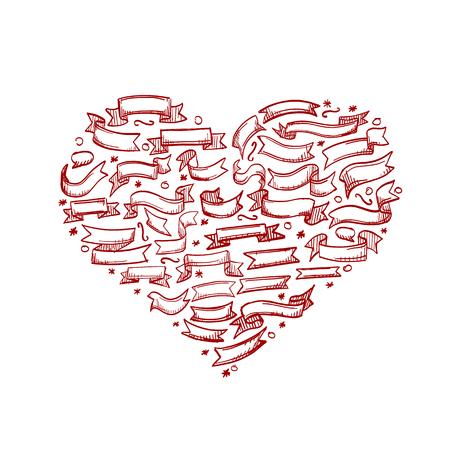 Sketch of hand drawn ribbon heart, template design element, Vector vintage Illustration