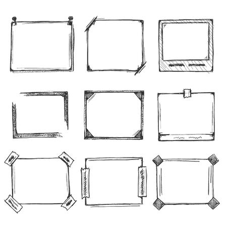Sketch of hand drawn frame set, template design element, Vector illustration Illustration