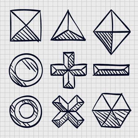 Polygonal sketch shapes, Sketch figures icon set, Vector illustration