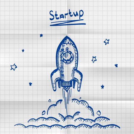 Exercise book sketch rocket startup. Creative idea for startup. Vector illustration Illustration