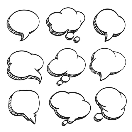 Sketch of hand drawn comic speech bubble, template design element, Vector illustration Illustration