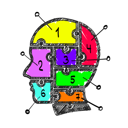 Sketch head puzzle numbers info, template design element, Vector illustration