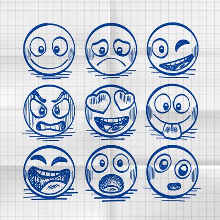 Sketch of hand drawn set of cartoon emoji. Vector illustration Illustration