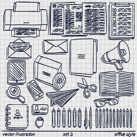 Sketch work style set like envelope scissors and pen. Vector illustration