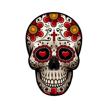Dag Van De Dode Schedel; Schedel met bloemmotief; Schedel tatoeage illustratie