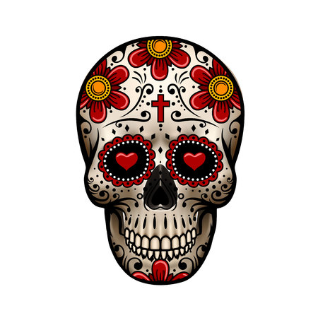 Day Of The Dead Skull; Skull with flower design; Skull tattoo illustration Çizim