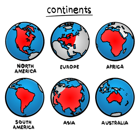 Sketch drawing continents, Planet continent Europe, Planet continent Asia, Planet continent America, Planet continent Australia, Planet continent Africa, Vector illustration Standard-Bild
