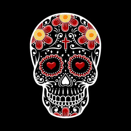 Day Of The Dead Skull. Skull sugar flower. Skull tattoo. Vector illustration Stock Photo