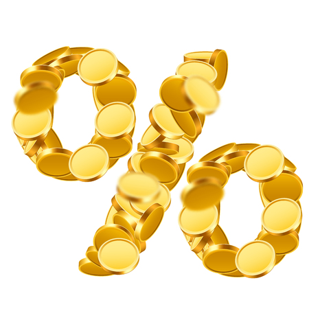 Percent sign from golden coins. Isolated on white. Vector illustration
