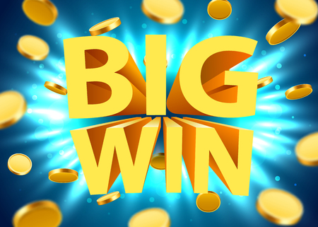 Big win sign with gold realistic 3d coins background. Jackpot concept. Vector illustration Illustration