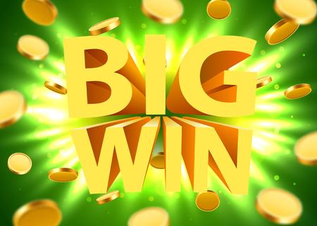 Großes Gewinnzeichen mit Gold realistischem Hintergrund der Münzen 3d. Jackpot-Konzept. Vektor-Illustration