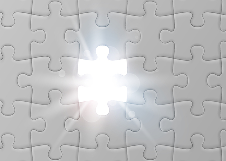 White jigsaw puzzle with missed and shining piece. Solution concept. Illustration