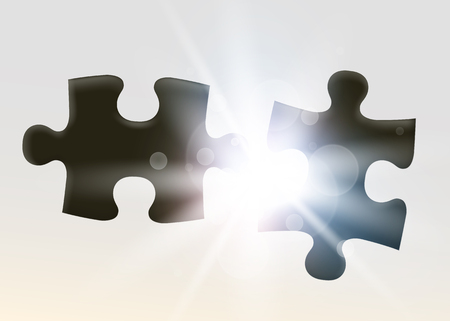 Two joining jigsaw puzzle piece. Symbol of association and connection. Business strategy.