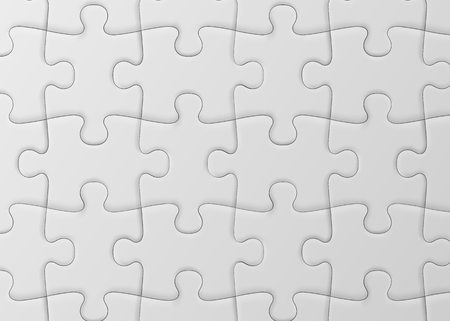 White jigsaw puzzle. Blank simple background. Vector illustration