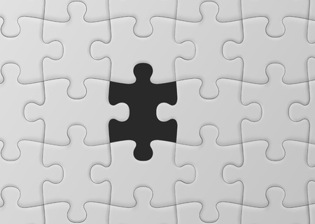 White jigsaw puzzle with missed piece. Solution concept.