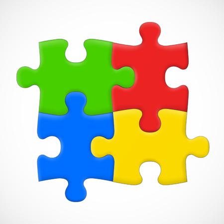 Four piece puzzle. Solution concept.