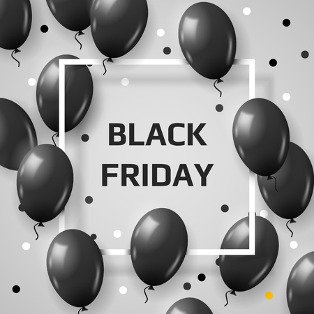 Beautiful black balloons for Black Friday frame