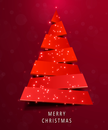 Christmas tree made of red paper on red background. New year and christmas greeting card or party invitation. Illustration