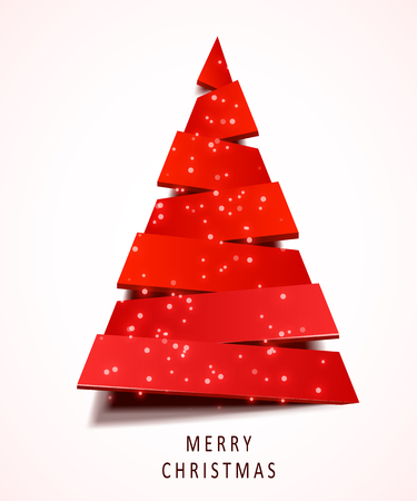 Christmas tree made of red paper on white background. New year and christmas greeting card or party invitation.