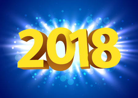Gold 2018 year type on a bright blue background.