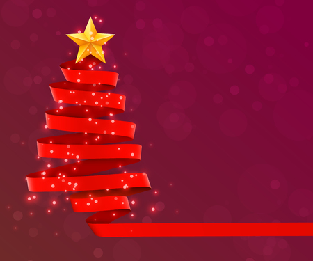 Christmas tree made of red ribbon on red background. New year and christmas greeting card or party invitation.