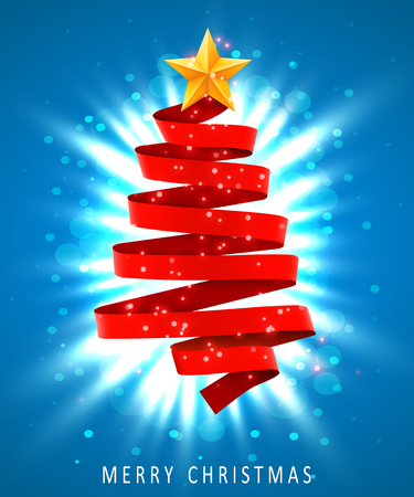 Christmas tree made of red ribbon on blue background. New year and christmas greeting card or party invitation. Standard-Bild