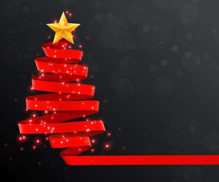 Christmas tree made of red ribbon on dark background. New year and christmas greeting card or party invitation.