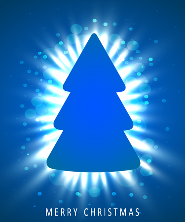 Christmas tree made of blue paper on blue background. New year and christmas greeting card or party invitation.