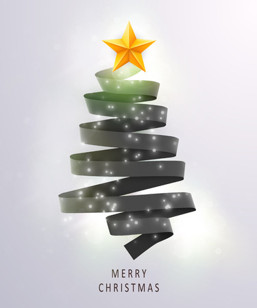 Christmas tree made of black ribbon on bright background. New year and christmas greeting card or party invitation.