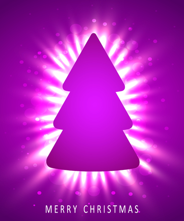 Christmas tree made of pink paper on pink background. New year and christmas greeting card or party invitation. Standard-Bild
