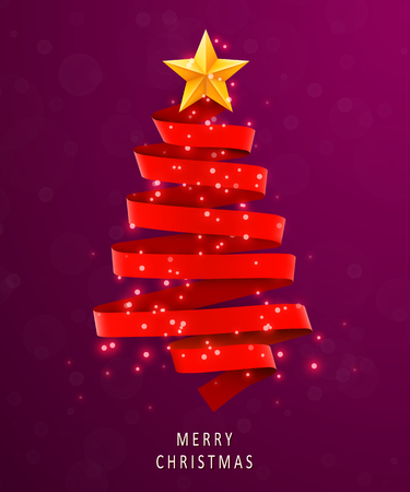 Christmas tree made of red ribbon on pink background. New year and christmas greeting card or party invitation.