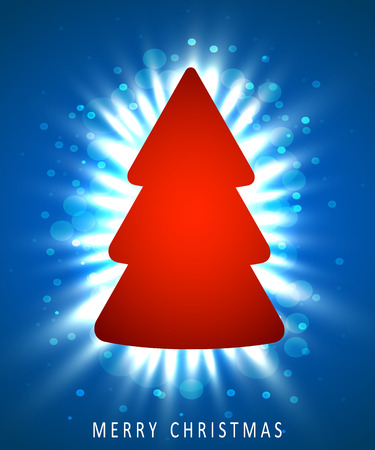 Christmas tree made of red paper on blue background. New year and christmas greeting card or party invitation.