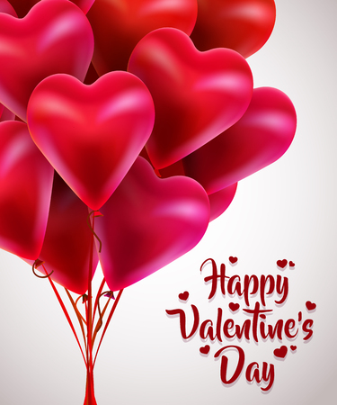 Flying bunch of red balloon hearts. Happy Valentines Day. Çizim