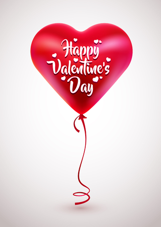 Vector red balloon in form of heart. Illustration