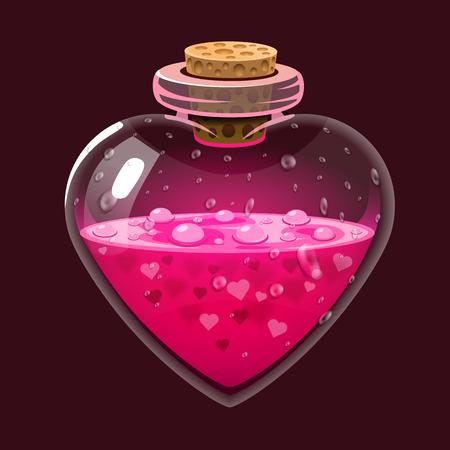 Bottle with love potion. Icon magic elixir. Design for app user interface. Design elements for Valentines day. Vector illustration Illustration