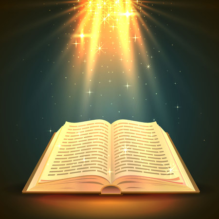 Open book with magical light, religion object. Vector illustration