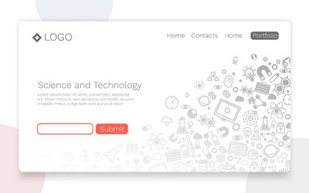 Ciencia y tecnología, fondo de icono, concepto de página de destino. Ilustración vectorial