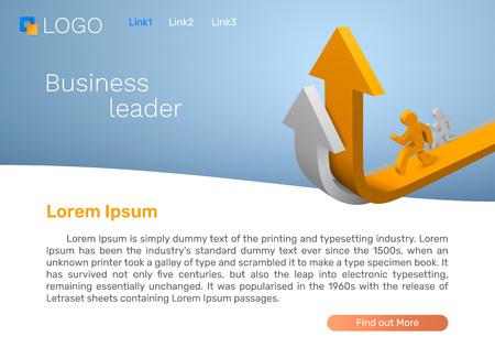 Flecha de líder empresarial, concepto de página de destino. Ilustración vectorial Ilustración de vector