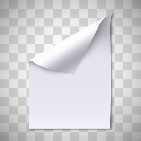 Blank paper sheet with page curl. Note, idea or office document concept. Paper with shadow. Vector illustration.