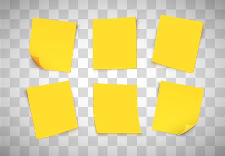 Notes de papier jaune sur fond transparent. Un Post-it. Illustration vectorielle Vecteurs