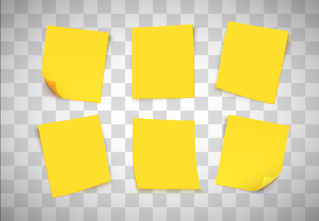Yellow paper notes on transparent background. Post it note. Vector illustration Çizim