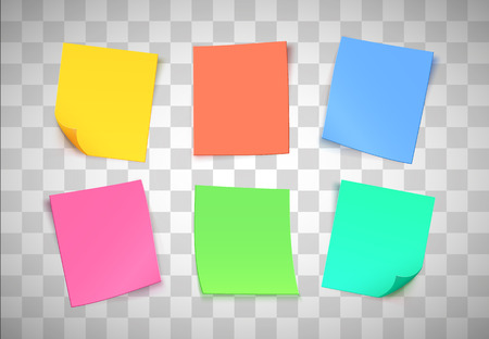 Note di carta multicolore su sfondo trasparente. Post-it. Illustrazione vettoriale Vettoriali