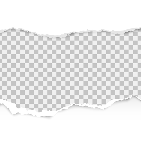 Realistic torn paper set with ripped edges, space for text on transparent background. Torn paper edge. Vector illustration