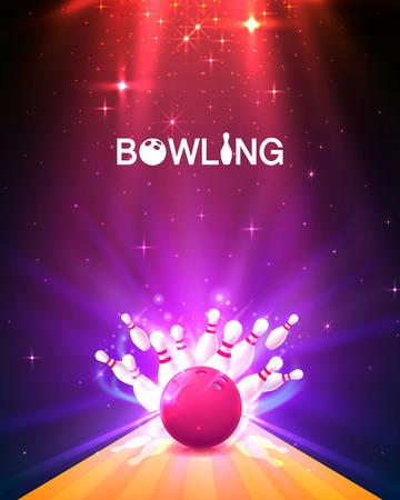 Bowlingclubplakat mit dem hellen Hintergrund. Vektorillustration