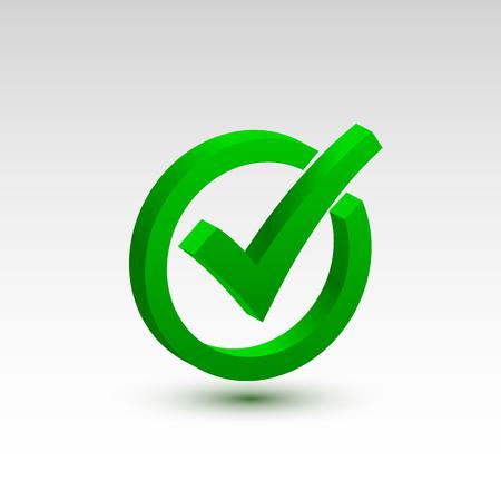 Sprawdź ikonę 3d, znak ok kolor zielony. Ilustracja wektorowa