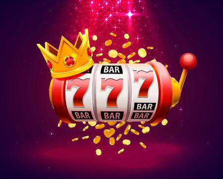King tragamonedas 777 banner casino sobre fondo rojo. Ilustración vectorial Ilustración de vector