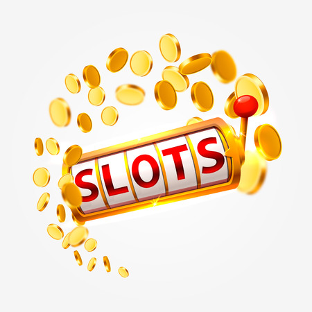 Golden slots machine wins the jackpot. Vector illustration isolated on white background. Vector illustration Stock Illustratie